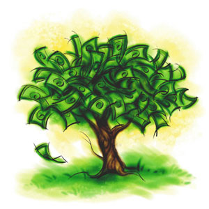 There is a Money Tree, but it's being guarded by private interests., From GoogleImages