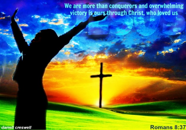 Sky cross Jesus Romans 8 37 dc